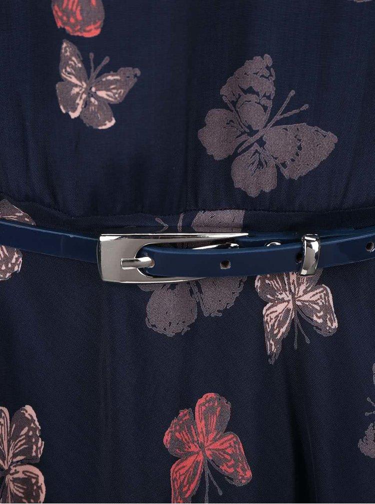 Rochie Apricot albastru inchis cu imprimeu