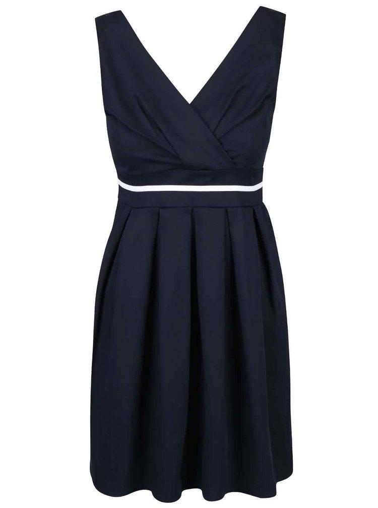 Tmavě modré šaty s bílým pruhem Apricot