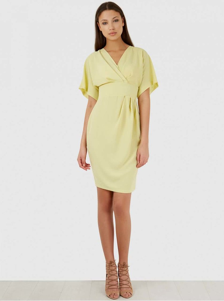 Svetložlté šaty s véčkovým výstrihom Closet