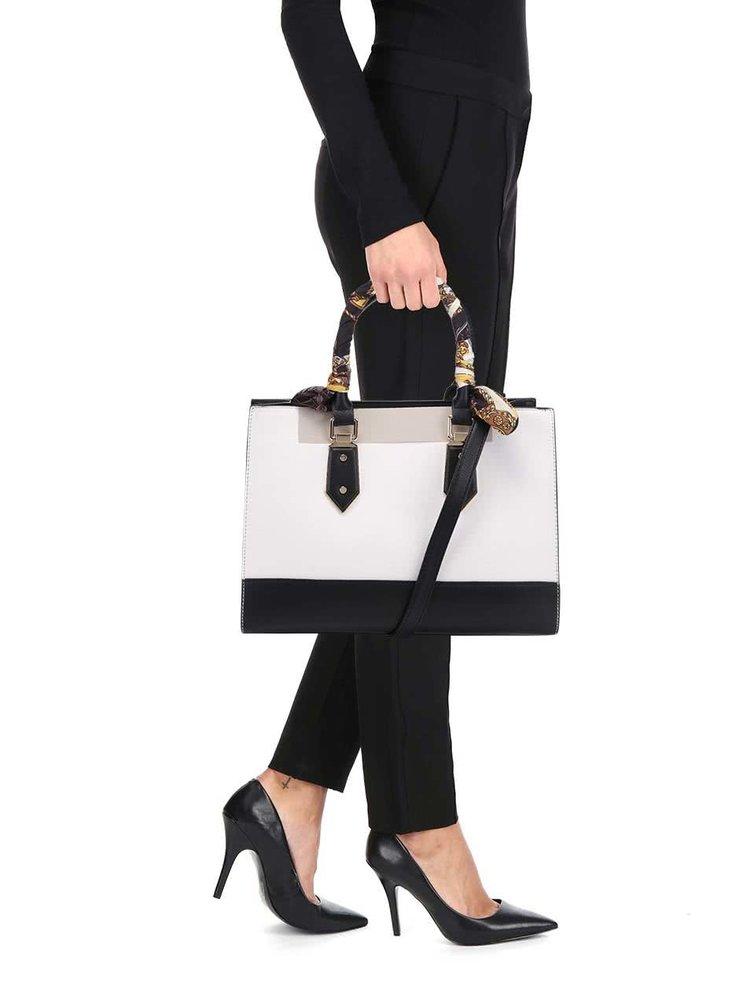 Čierno-krémová kabelka so šatkou a detailmi v zlatej farbe ALDO Toypoddle