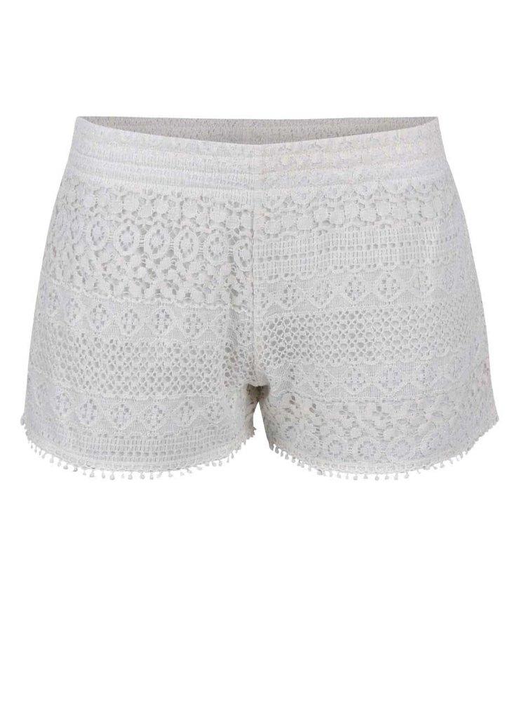 Pantaloni scurti Haily´s Sharon crem din dantela