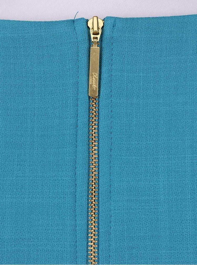 Tyrkysové šaty s béžovým opaskom Closet