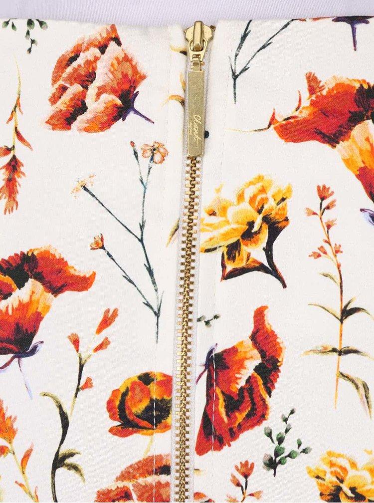 Krémové květinové šaty s oranžovým páskem Closet