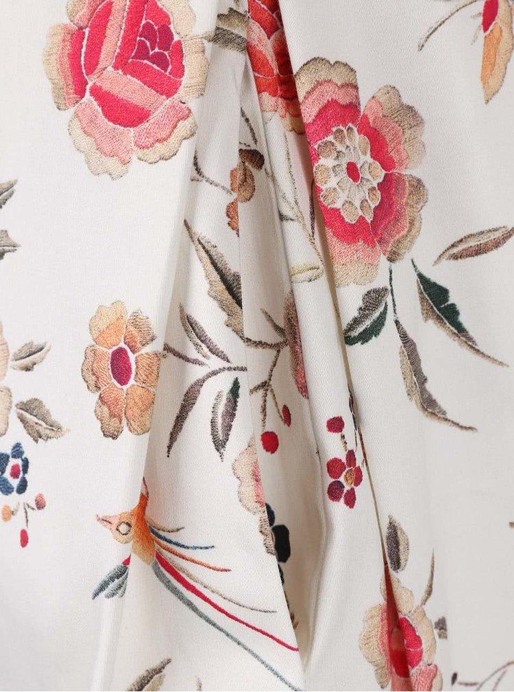 Krémové květované šaty s mašlí v pase Closet