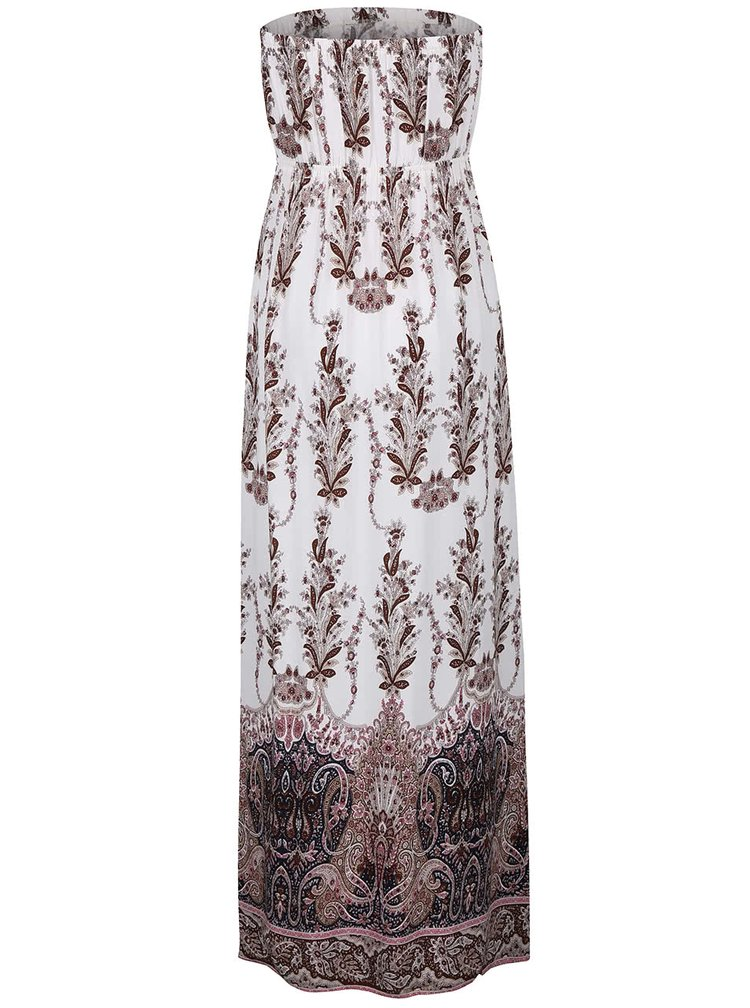 Hnedo-biele maxi šaty so vzorom Haily´s Clara