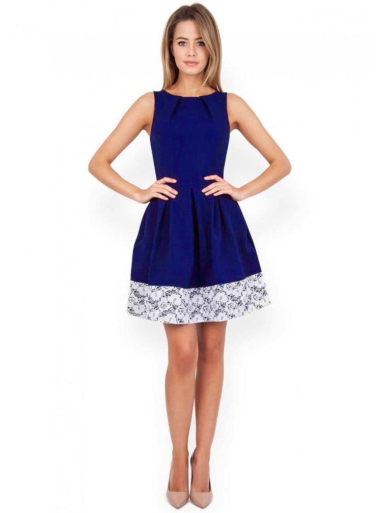 Kobaltovo modré šaty olemované čipkou Closet
