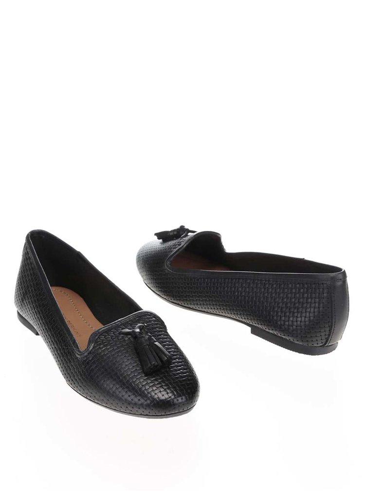 Čierne kožené mokasíny so strapcami Dorothy Perkins