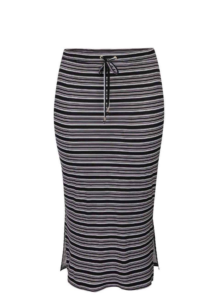 Čierna pruhovaná dlhšia sukňa Dorothy Perkins Curve