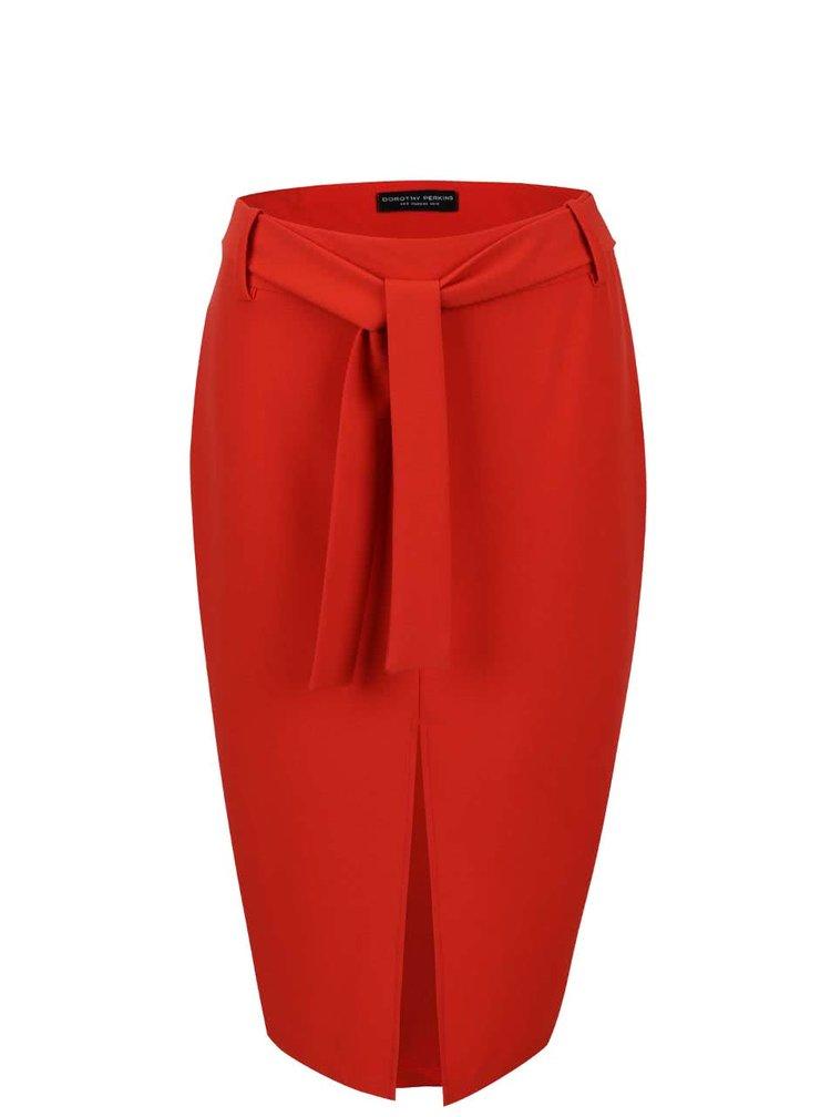 Oranžová delší sukně s rozparkem Dorothy Perkins