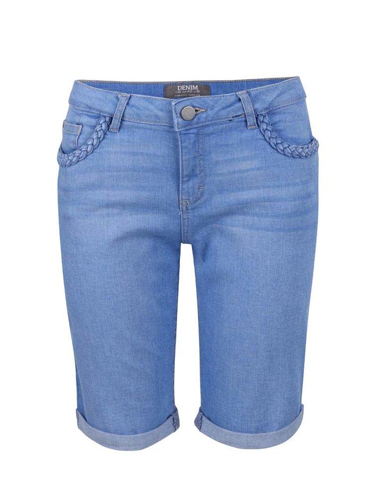 Modré rifľové kraťasy s ozdobnými lemami na vreckách Dorothy Perkins