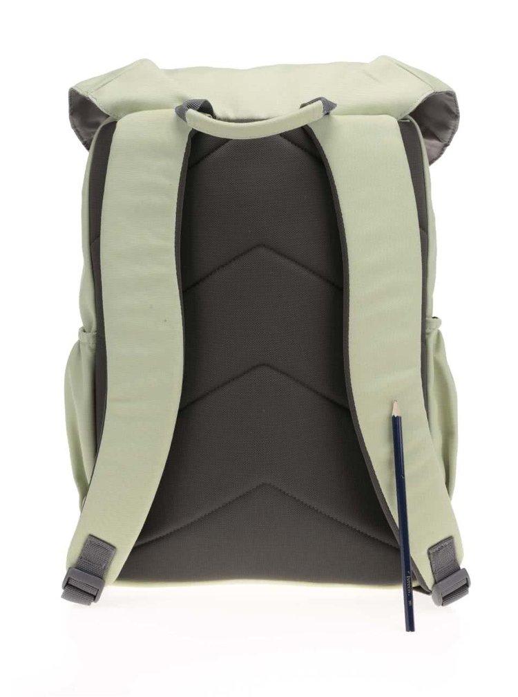 Svetlozelený unisex batoh s hnedými prackami Ridgebake Otone Canvas