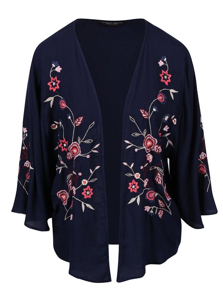 Tmavě modré kimono s vyšívanými květy Dorothy Perkins
