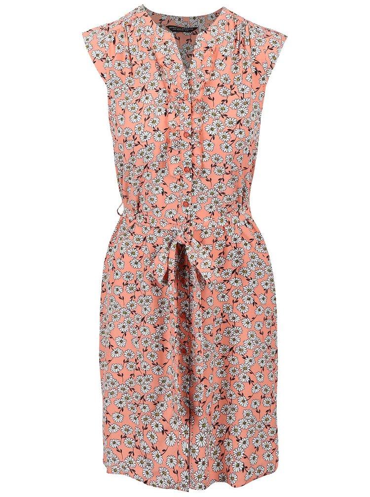 Marhuľovej kvetinové šaty so stuhou okolo pása Dorothy Perkins