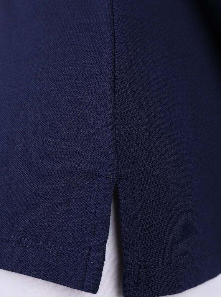Tmavě modré dámské polo tričko na zip se žlutým detailem Nautica