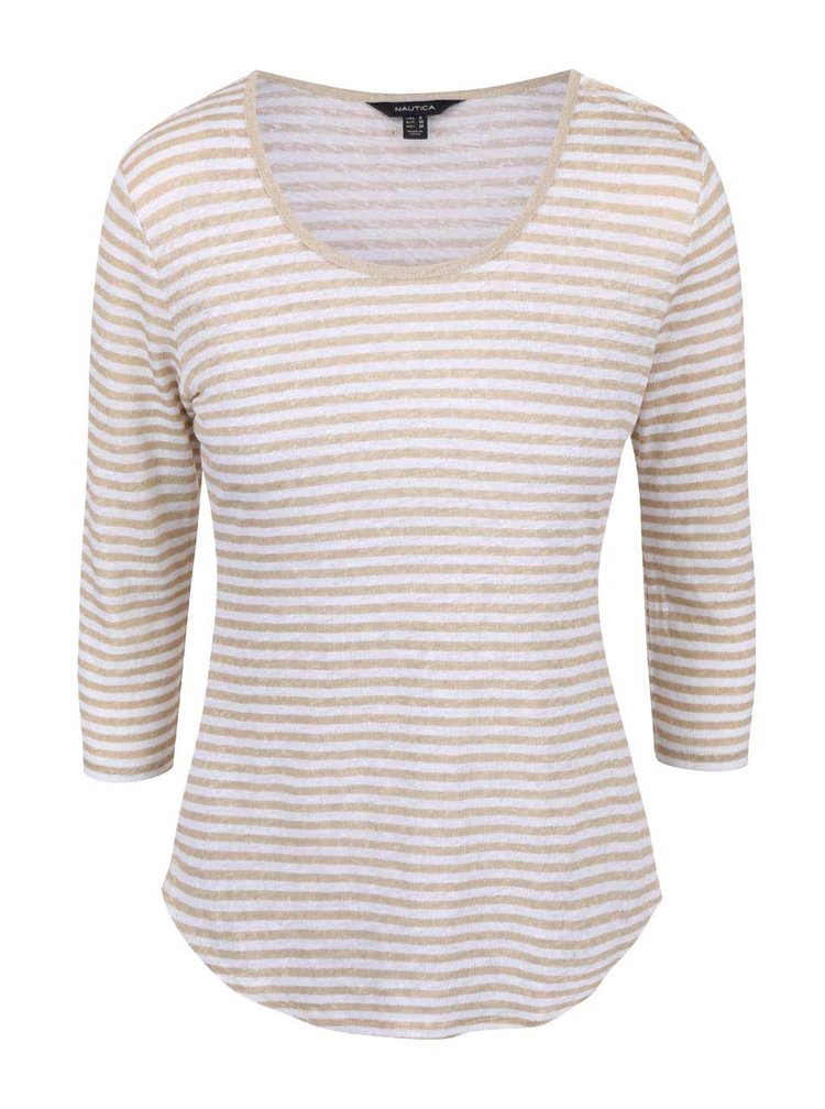Krémovo-béžové dámské lněné pruhované tričko s 3/4 rukávem Nautica