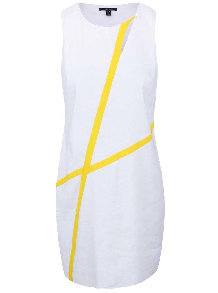 Biele ľanové šaty so žltými detailmi Nautica