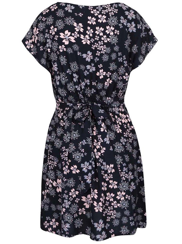 Tmavě modré šaty s růžovými květy Apricot