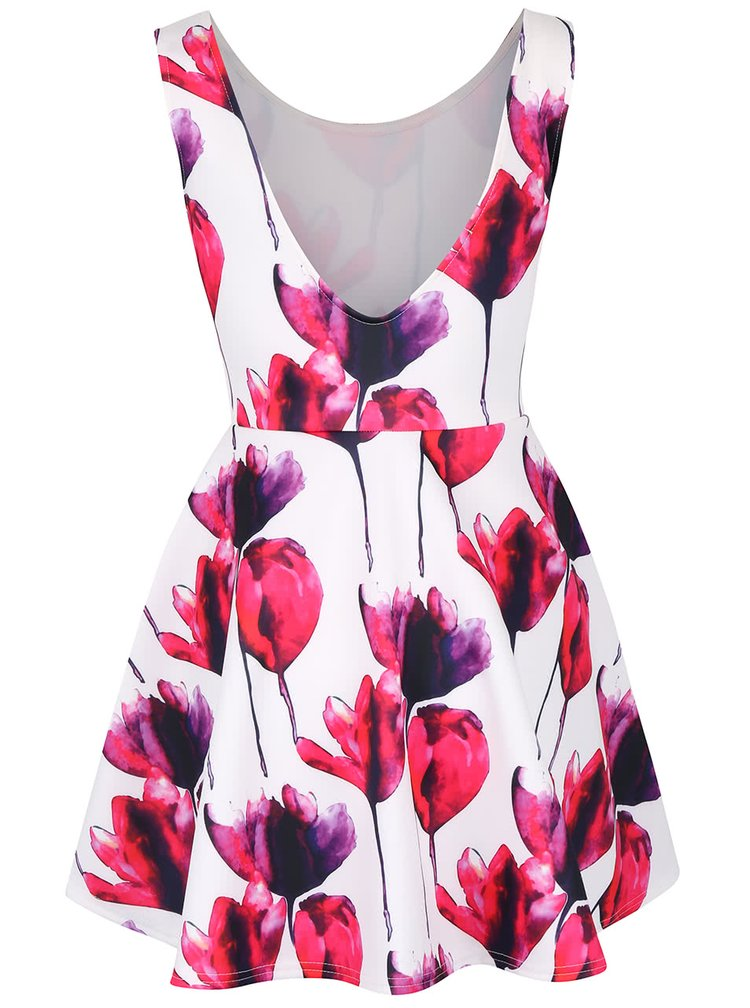 Ružovo-biele šaty s kvetinami SisterS Point Geta