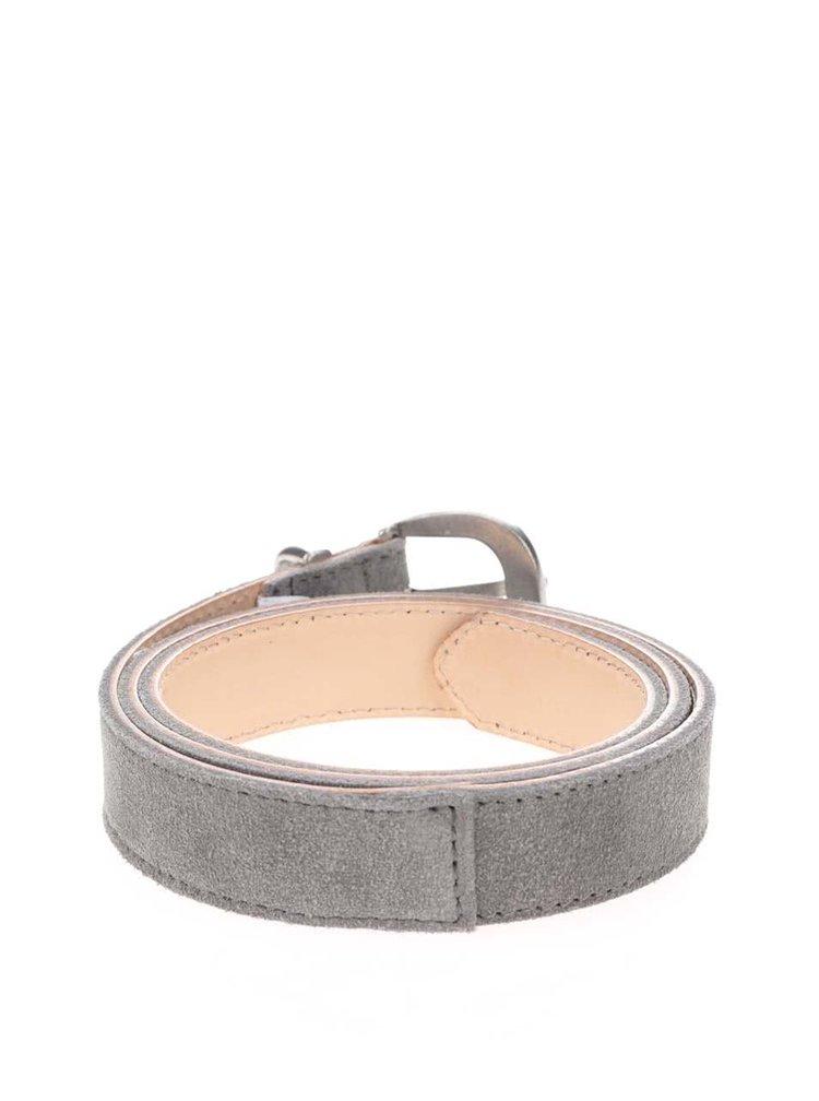 Sivý kožený opasok Pieces Becca