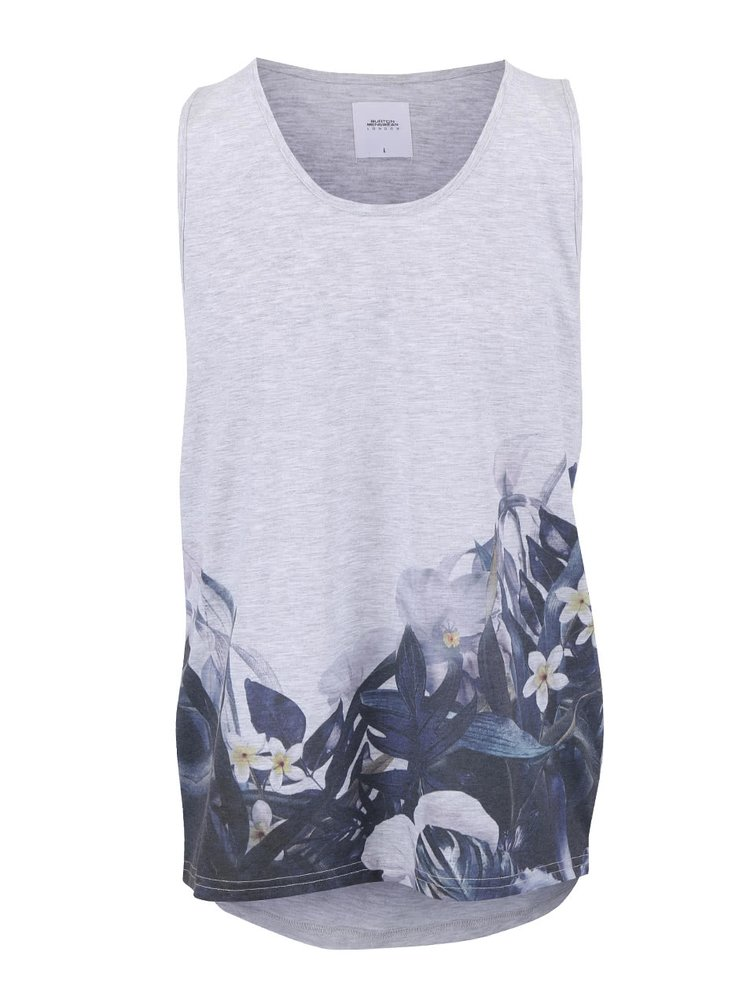 Sivé tielko s kvetinovou potlačou Burton Menswear London