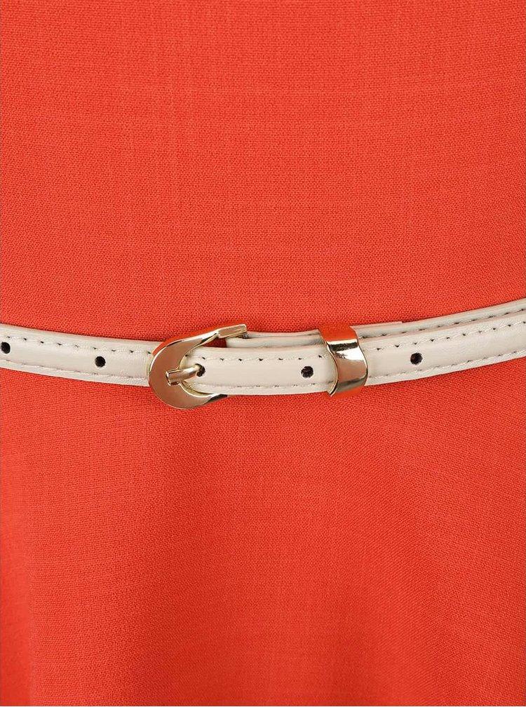 Korálové šaty s krémovým páskem Closet