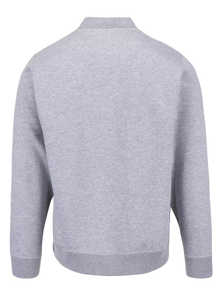 Sivá mikina na zips v striebornej farbe Burton Menswear London