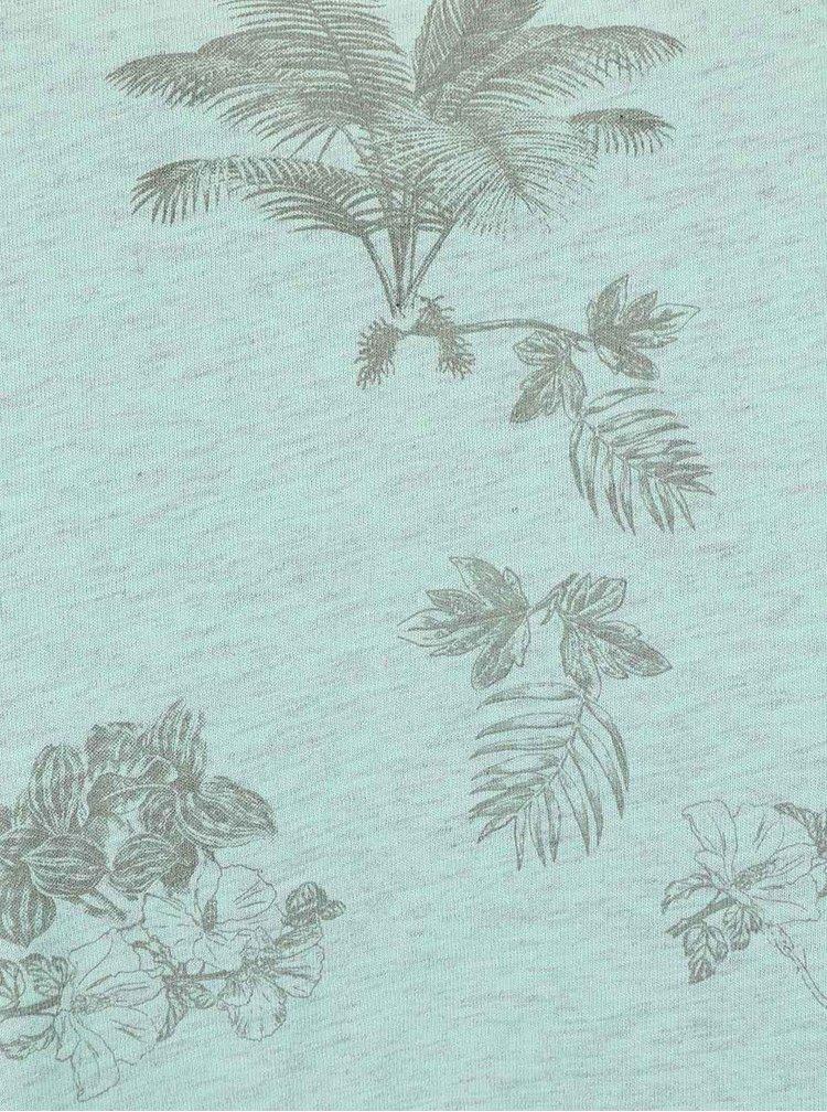 Mentolové triko s potiskem listů a květin Burton Menswear London
