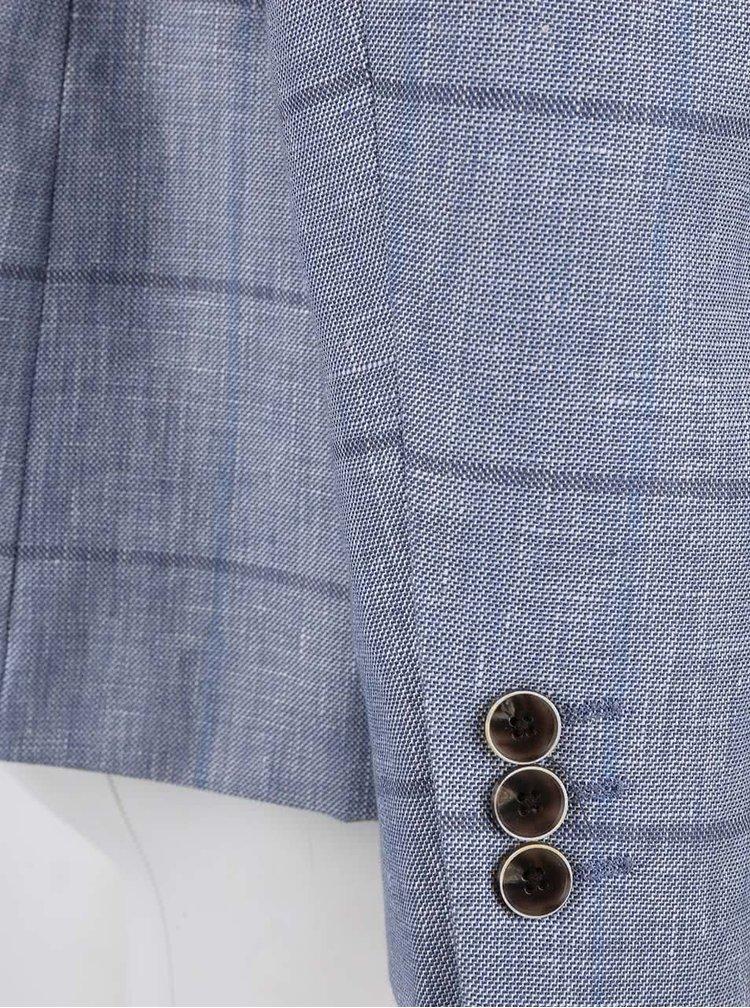Svetlomodrý vzorovaný ľanový blejzer Burton Menswear London