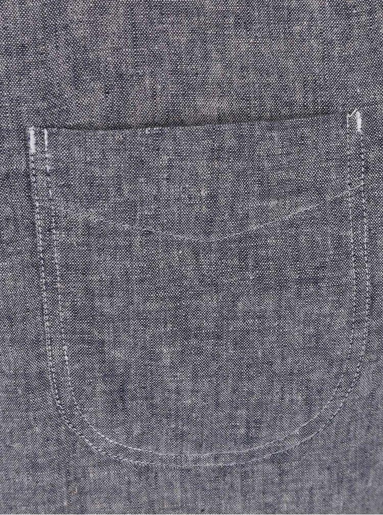 Šedá žíhaná lněná košile s krátkým rukávem Burton Menswear London