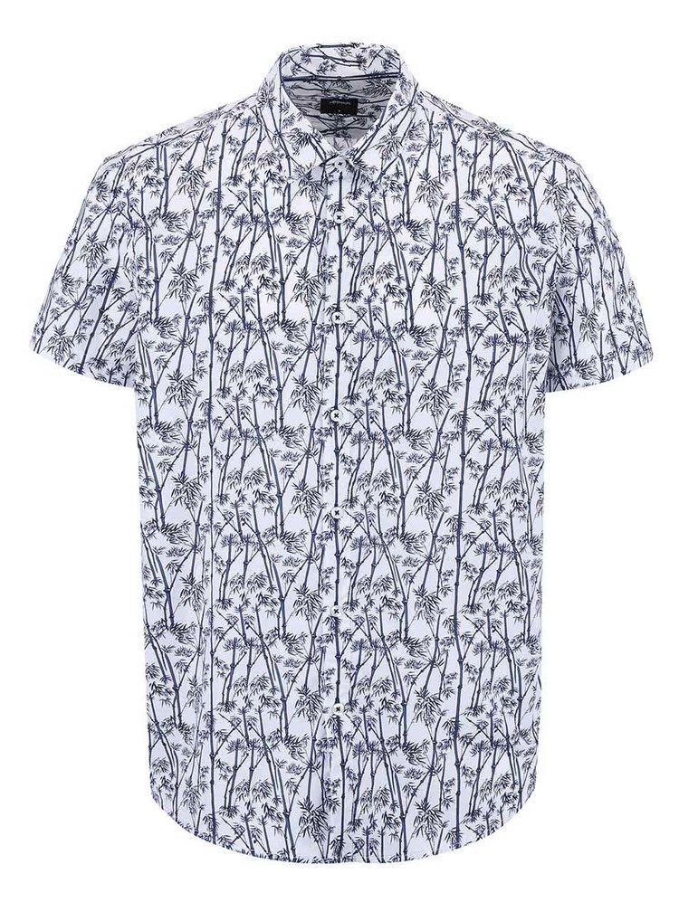 Bielo-modrá košeľa s potlačou bambusu Burton Menswear London