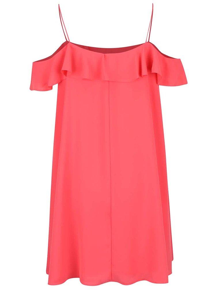 Růžové volnější šaty s volánkem Miss Selfridge