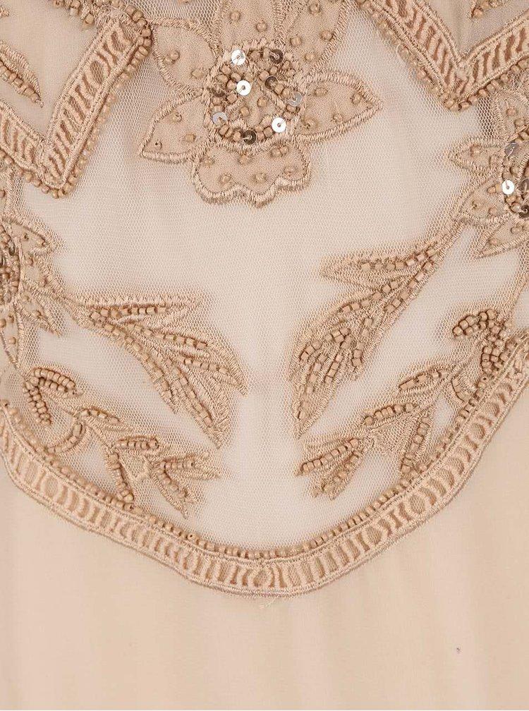 Béžové maxišaty s čipkovanými detailmi Miss Selfridge