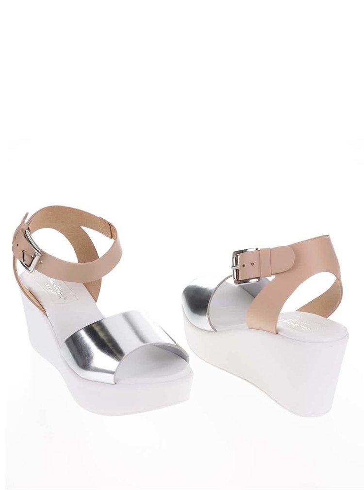 Béžovo-bílé kožené sandály na platformě  Miss Selfridge