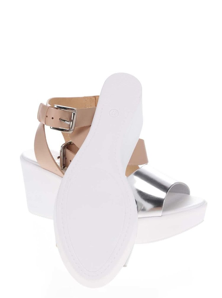 Sandale cu platformă Miss Selfridge bej-albe