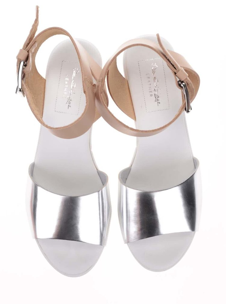 Béžovo-biele kožené sandálky na platforme Miss Selfridge