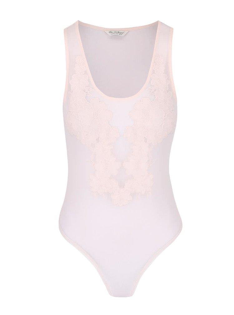 Světle růžové průhledné body s květovanou krajkou Miss Selfridge