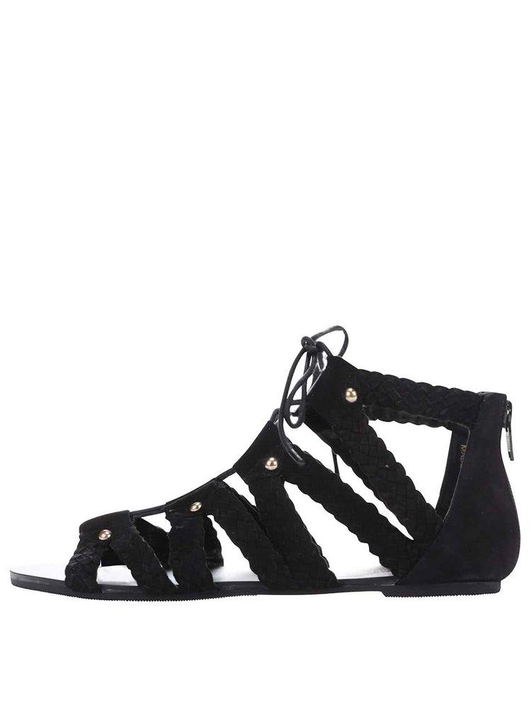 Čierne semišové šnurovacie sandále Miss Selfridge
