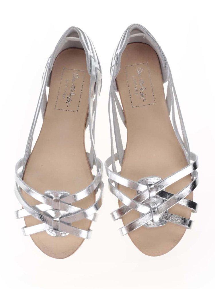 Kožené sandále v striebornej farbe Miss Selfridge