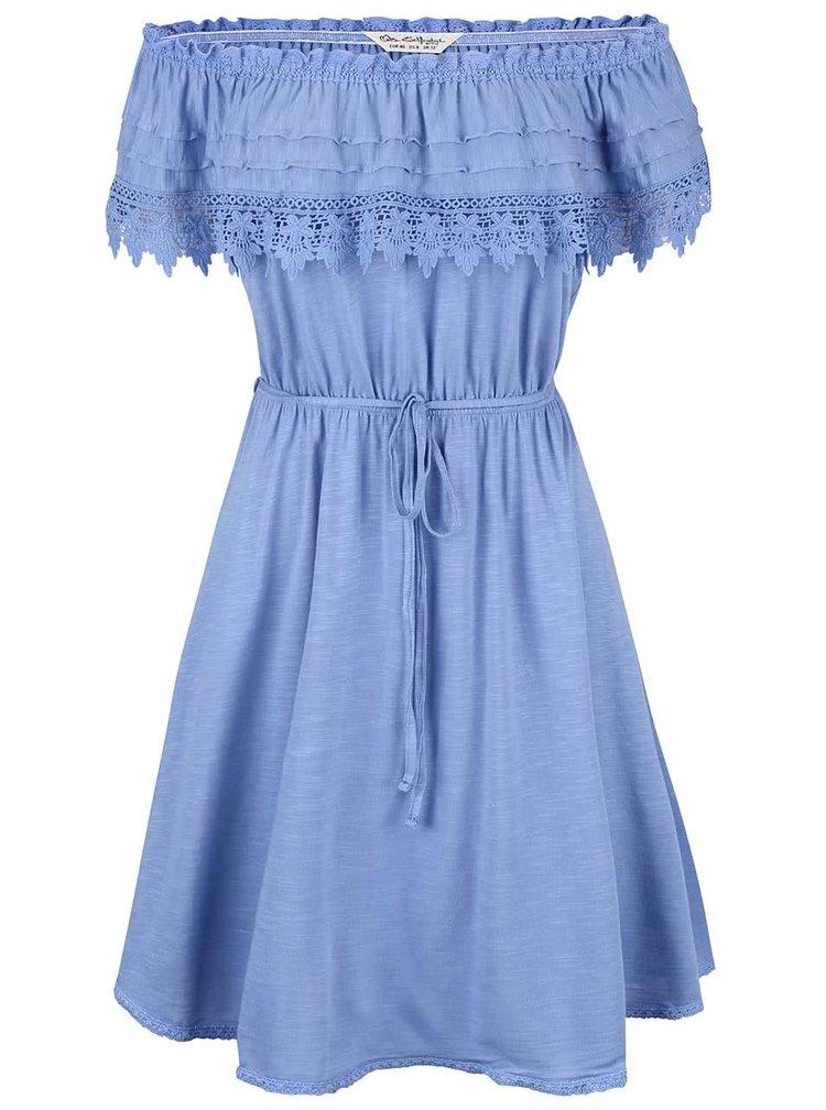Modré šaty s krajkovaným volánkem Miss Selfridge
