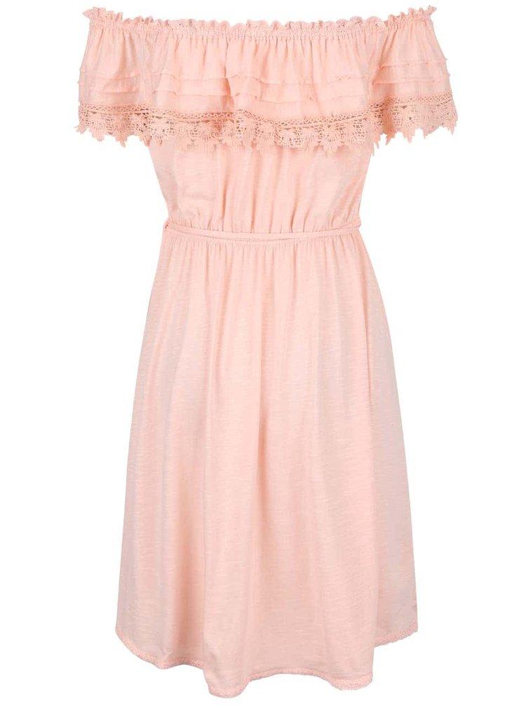 Svetloružové šaty s čipkovaným volánikom Miss Selfridge