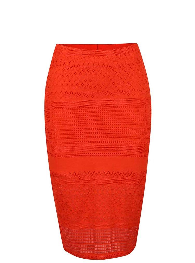 Oranžová krajková sukně Miss Selfridge