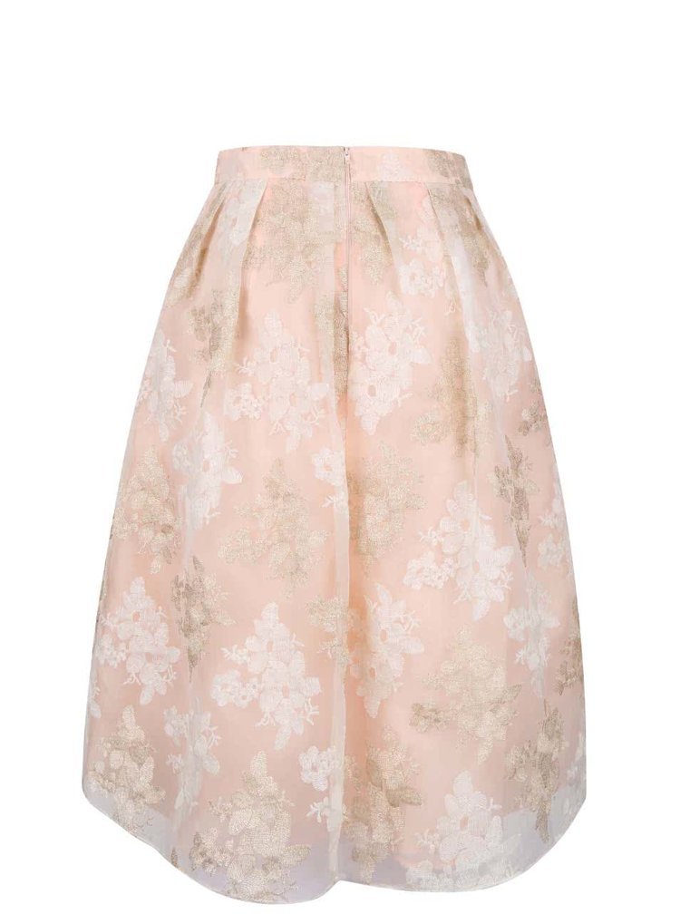 Meruňková vzorovaná skládaná midi sukně Miss Selfridge