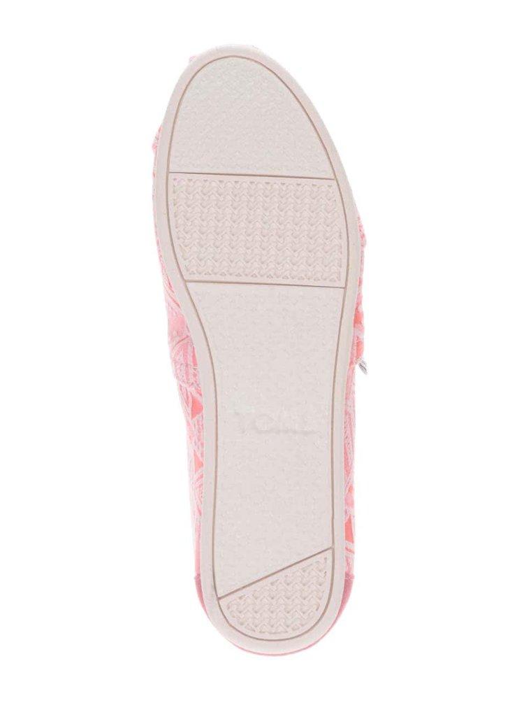 Neonově růžové dámské vzorované loafersToms