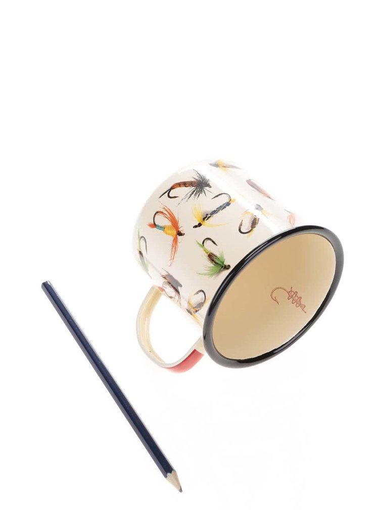 Krémový plechový hrnek s potiskem háčků Hook line & Sinker