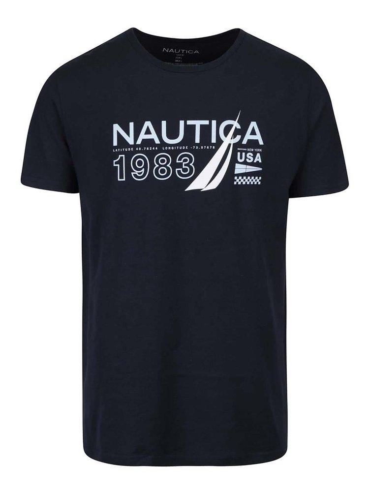 Tmavomodré pánske tričko s potlačou Nautica
