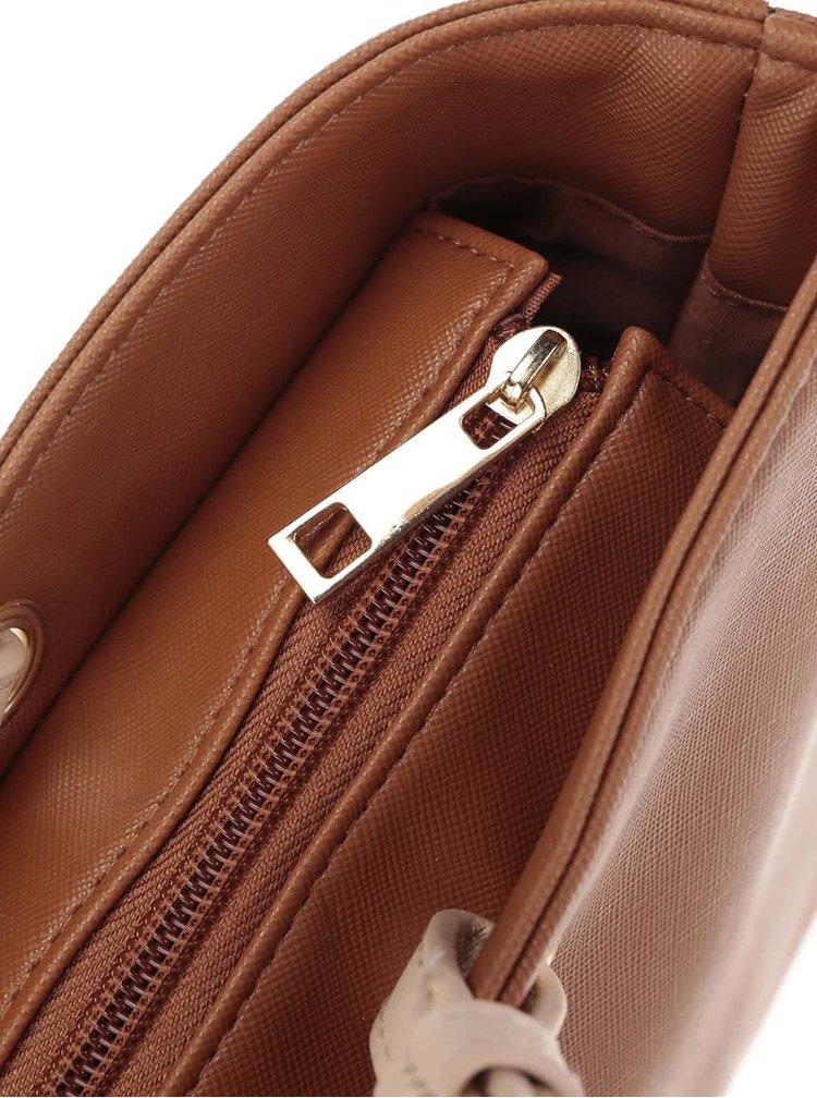 Hnědá kabelka s detaily ve zlaté barvě Dorothy Perkins