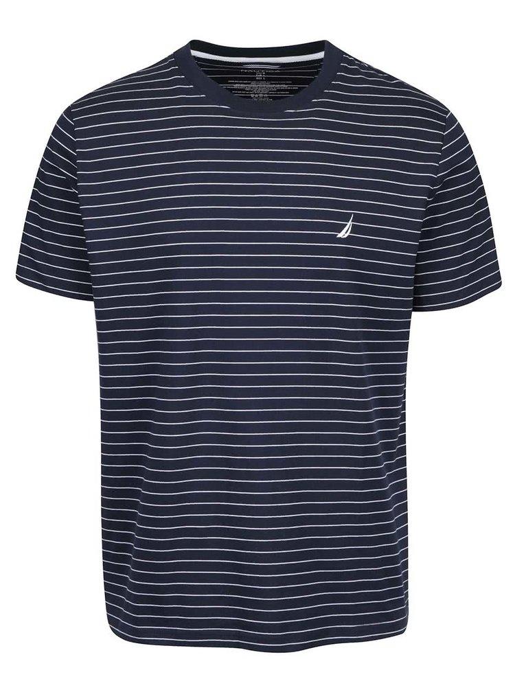 Tmavomodré pánske pruhované tričko Nautica