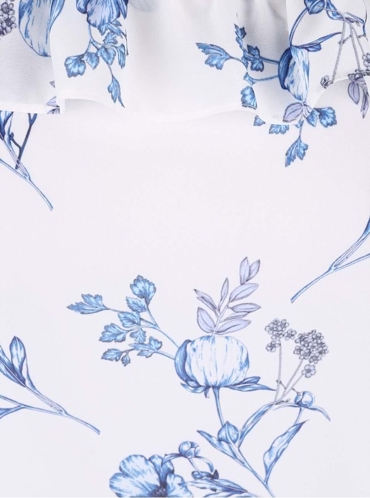 Krémová kvetinová blúzka s odhalenými ramenami Dorothy Perkins Petite
