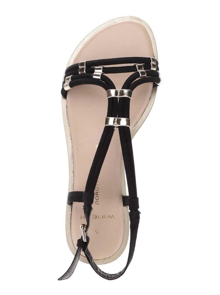 Černé sandály s detaily ve zlaté barvě Dorothy Perkins