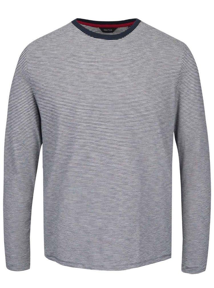 Modro-krémové pánské pruhované triko s dlouhým rukávem Nautica
